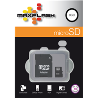Maxflash microSD Card 8GB +Adapter (SD8GTF30M-R)